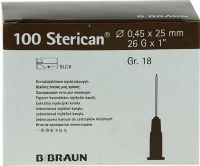 STERICAN Kanülen Luer-Lok 0,45x25 mm Gr.18 braun