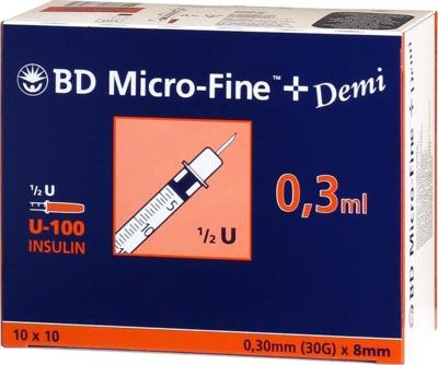 BD Micro-Fine+ Demi Insulinspritzen 0,3ml U100 0,3x8mm