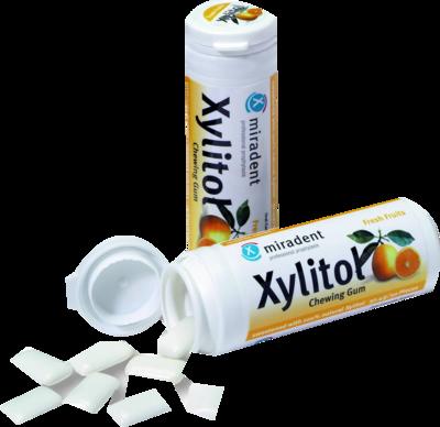 MIRADENT Zahnpflegekaugummi Xylitol Frucht
