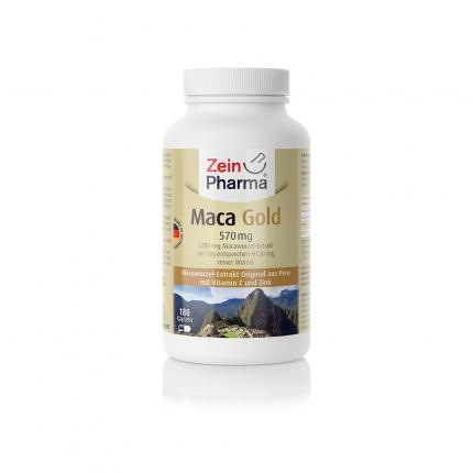 Maca Gold 570mg vegetarische Kapseln mit Zink und Vitamin C