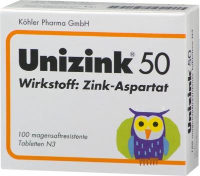 Unizink 50 magensaftresistente Zink Tabletten