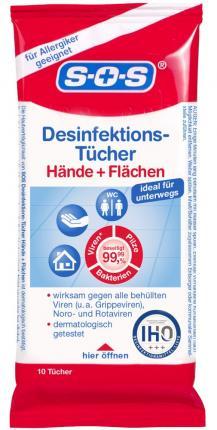 SOS Desinfektionstücher Hände und Flächen
