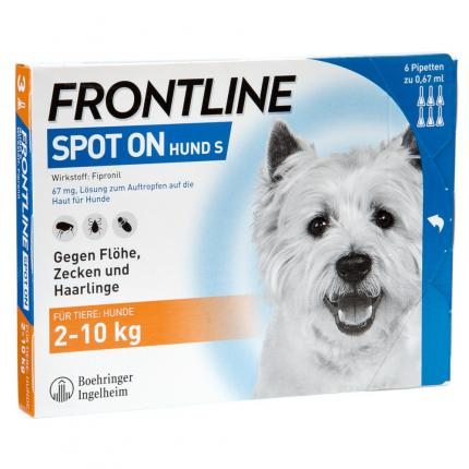 Frontline Spot on Hund S bis 10kg gegen Zecken und Flöhe 6 Pipetten